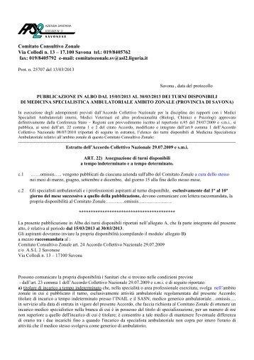 Turni disponibili di medicina specialistica ambulatoriale - Azienda ...