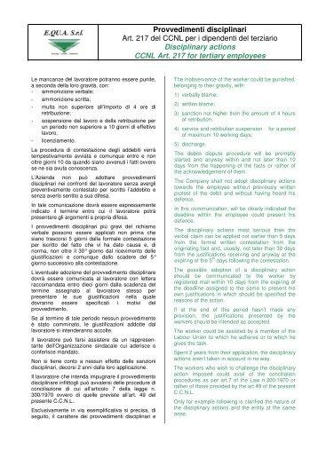Provvedimenti disciplinari Art. 217 del CCNL per i ... - E.QU.A. Srl