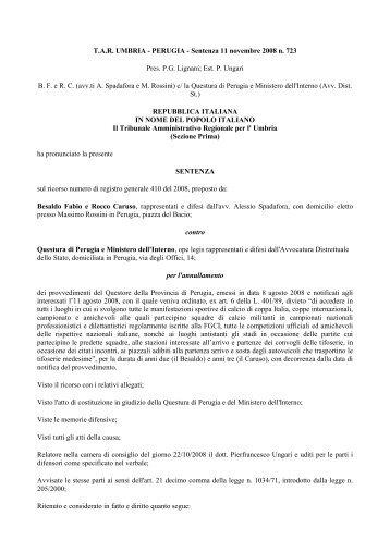 T.A.R. UMBRIA - PERUGIA - Sentenza 11 novembre 2008 n. 723 ...