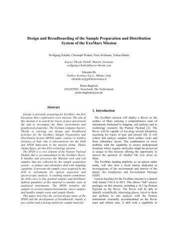 Design and Breadboarding of the Sample ... - Robotics - ESA