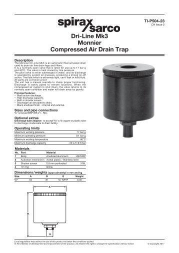 Dri Line Mk3 Monnier Compressed Air Drain Trap Spirax Sarco