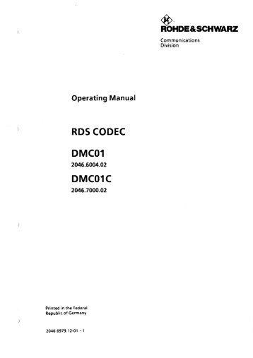 Rhode Schwarz DMC01 OM