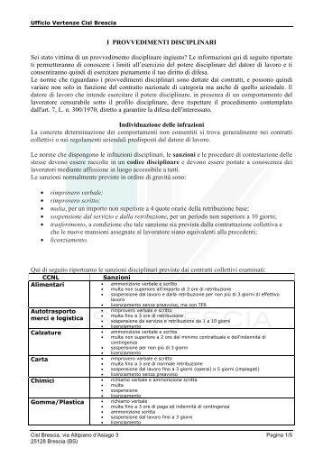 I PROVVEDIMENTI DISCIPLINARI - Ufficio vertenze Cisl Brescia