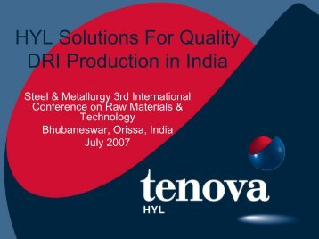 HYL Solutions For Quality DRI Production In India - Tenova