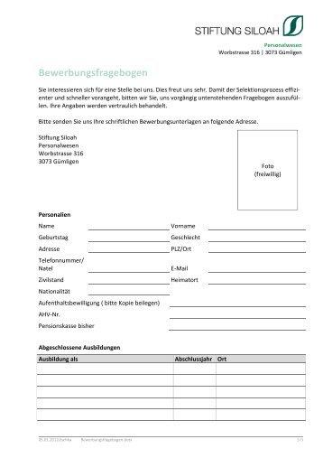 Bewerbungsfragebogen - Stiftung Siloah