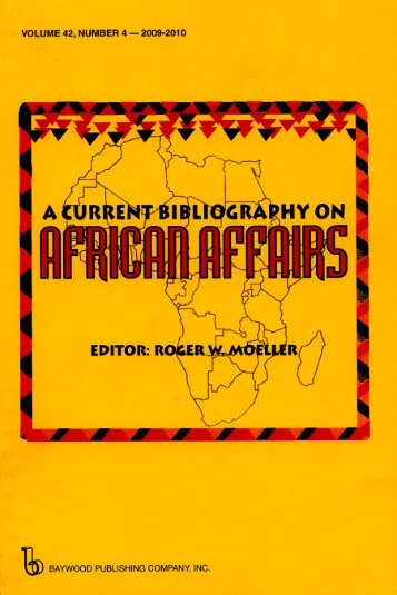 A Current Bibliography on African Affairs - Baywood Publishing