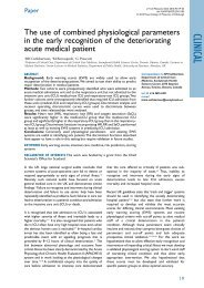 The use of combined physiological parameters in the