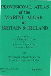 PROVISIONAL ATLAS of the MARINE ALGAE of BRITAIN & IRELAND