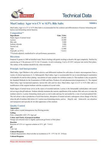 MacConkey Agar w/o CV w/ 0.5% Bile Salts - HiMedia Laboratories