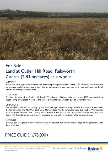 For Sale Land At Cutler Hill Road Failsworth 7 Acres 283 Hectares