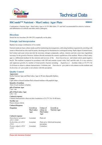 HiCombi™ Nutrient - MacConkey Agar Plate - HiMedia Laboratories