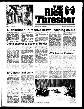 Cuthbertson to receive Brown teaching award - Rice University's ...