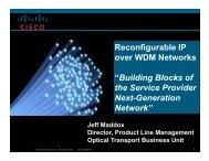 Reconfigurable IP over DWDM Networks - OFC/NFOEC