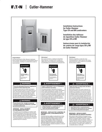 Installation Instructions for Cutler-Hammer Type CH and BR ...