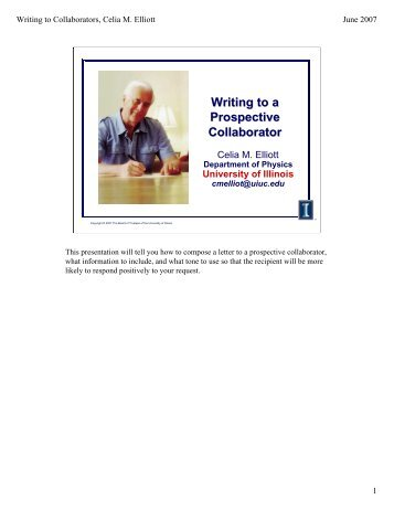 Writing to a Prospective Collaborator - Department of Physics ...
