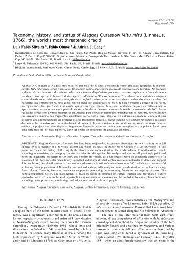 Taxonomy, history, and status of Alagoas Curassow Mitu mitu ...
