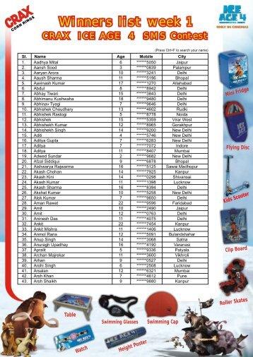 Crax Winners List