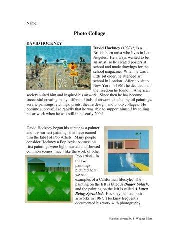 Hockney inspired Photo Collage handout