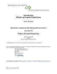 Introduction: Origins of Logical Empiricism - Minnesota Center for ...