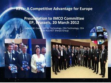 20.03.2012 - Presentation by G M Crean - CEA - Europa