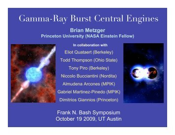 Gamma-Ray Burst Central Engines - Princeton University