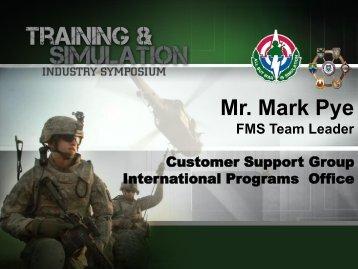 Mr. Mark Pye - PEO STRI - U.S. Army