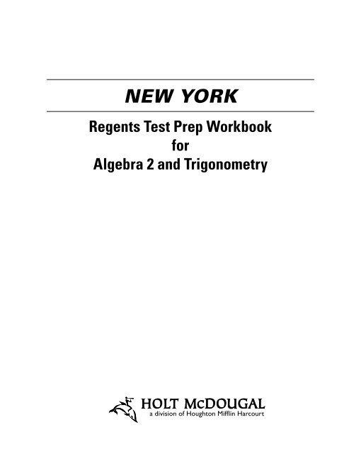 New York Regents Test Prep Workbook for Algebra - Holt