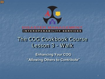 The COG Cookbook Course Lesson 3: Phase 2 – Maturing (Walk)