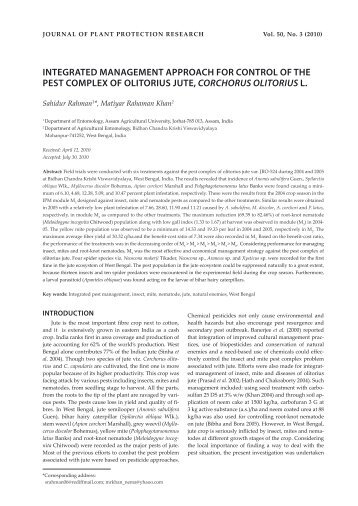 integrated management approach for control of the pest complex of ...
