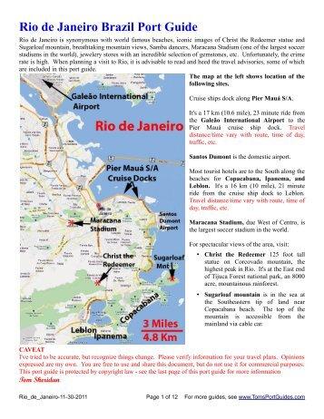 Rio de Janeiro Brazil Port Guide - Toms Port Guides
