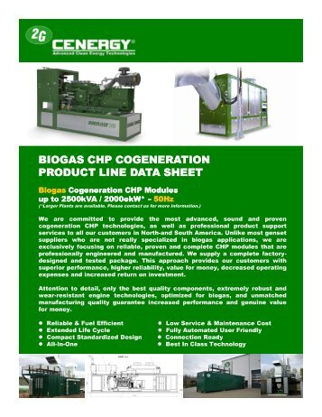BIOGAS CHP COGENERATION PRODUCT LINE ... - 2G Cenergy