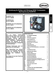 Anleitung für Einbau und Wartung GRAF Trinkwasser