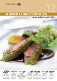 Spécialités de saison Automne 2012