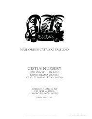 Mail Order Catalog Fall 2010 - Cistus Nursery