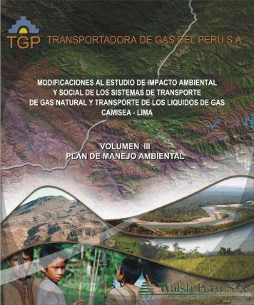 volumen iii plan de manejo ambiental - Ministerio de Energía y Minas