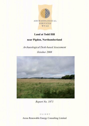 Land at Todd Hill, near Pigdon, Northumberland - Archaeology Data ...