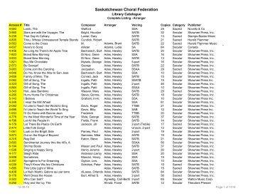 Arranger - Saskatchewan Choral Federation