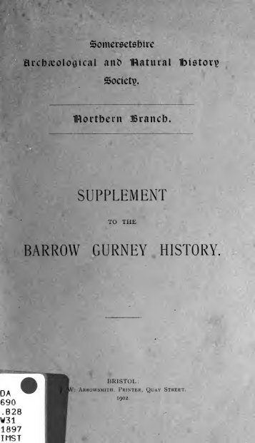 Supplement to the Barrow Gurney history - Index of