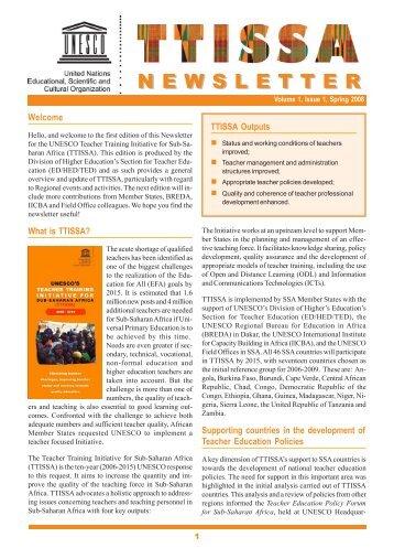 TTISSA newsletter: volume 1, issue 1, spring ... - unesdoc - Unesco