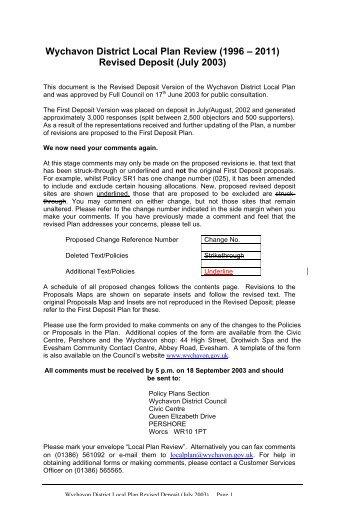 Revised Deposit Plan - Wychavon District Council
