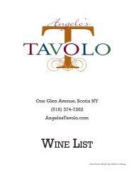WINE LIST - Angelo's Tavolo