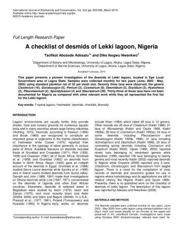 A checklist of desmids of Lekki lagoon, Nigeria - Academic Journals