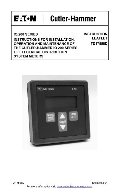 Instruction Manual IQ210 220 230 Eaton Canada
