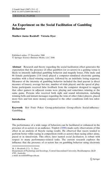 An experiment on the social facilitation of gambling behavior gambling companies