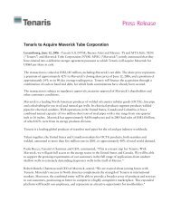 Tenaris to Acquire Maverick Tube Corporation