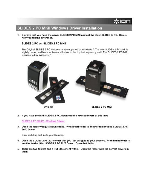 DRIVERS FOR SLIDES2PC MK2