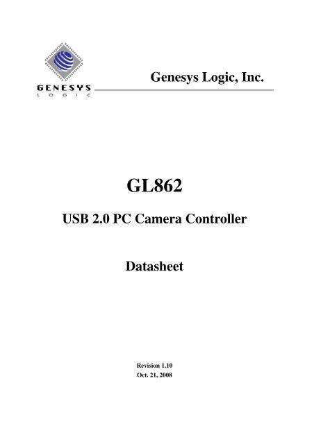 USB 2 0 PC Camera Controller Datasheet Genesys Logic, Inc