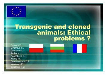 Transgenic and cloned animals: Ethical problems - Agrocampus Ouest