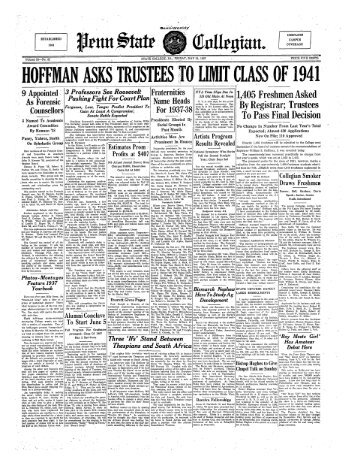 HOFFMAN ASKS TRUSTEES fO LIMIT CLASS OF 1941