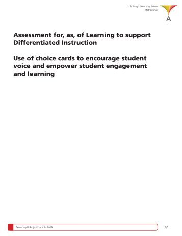 Assessment for, as, of Learning to support Differentiated ... - EduGains